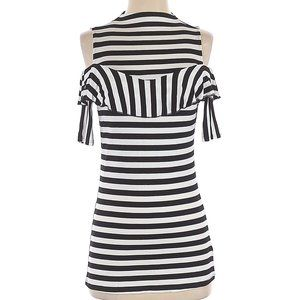 Project Runway Cold Shoulder Striped Tunic Shirt S